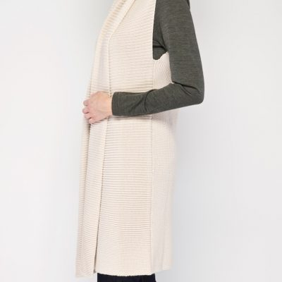 Long line vest in Putty