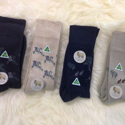 Wool socks with sheep,koala or kangaroo pattern
