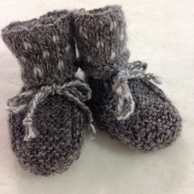 Baby booties with sheepskin inners Made here in Tasmania for us