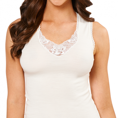 Sleeveless lace motif pure wool singlet