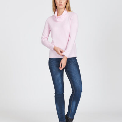 Wrap neck Merino jumper available in various colours