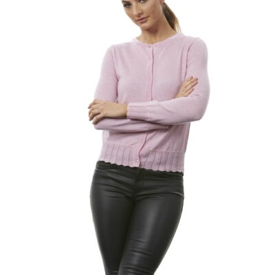 Cardigan in classic shape with trim Pale pink only